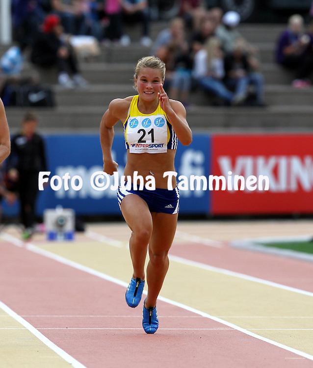 6.8.2011, Paavo Nurmen stadion, Turku..Yleisurheilun Kalevan Kisat 2011. .Naisten 100 m..Jenni Jokinen