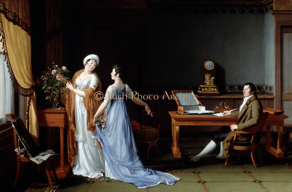 Count de la Forest with his Wife and Daughter' 1804. Oiil on canvas by Francois Andre Vincent (1746-1816) French neoclassical painter. Man writing at table. Women arrange flowers. 'Empire' style dress and furniture. Somestic interior. Family.