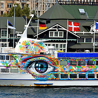 Giant Eye Mural on Side of Ship in Helsingborg, Sweden <br />