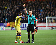 Leeds United midfielder Liam Bridcutt, yellow card during the Sky Bet Championship match between Charlton Athletic and Leeds United at The Valley, London, England on 12 December 2015. Photo by Matthew Redman.