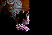 Geisha perform various traditional dances from around Japan during a festival in Izu-Nagaoka, Shizuoka Prefecture, Japan..Photographer: Robert GilhoolyGeisha perform various traditional dances from around Japan during  the Genji Ayame festival in Izu-Nagaoka, Shizuoka Prefecture, Japan on 01 July, 2011..Photographer: Robert Gilhooly