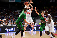 Real Madrid's Rudy Fernandez and Othello Hunter and Unicaja Malaga's Dejan Musli and Nemanja Nedovic during semi finals of playoff Liga Endesa match between Real Madrid and Unicaja Malaga at Wizink Center in Madrid, May 31, 2017. Spain.<br /> (ALTERPHOTOS/BorjaB.Hojas)