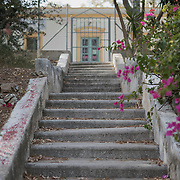 A stairway leading to the entrance of Villa Artemis, a shelter for 30 refugee women and their children in the grounds of Leros Hospital. <br />