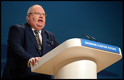 Image ©Licensed to i-Images Picture Agency. 29/09/2014. Birmingham, United Kingdom.  Eric Pickles MP, Secretary of State for Communities and Local Government, Minister for Faith during his  speech on Day 2 of the Conservative Party Conference at the ICC Birmingham. Picture by Andrew Parsons / i-Images