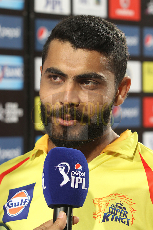 Man of the Match Ravindra Jadeja of The Chennai Super Kings during match 21 of the Pepsi Indian Premier League Season 2014 between the Chennai Superkings and the Kolkata Knight Riders  held at the JSCA International Cricket Stadium, Ranch, India on the 2nd May  2014<br /> <br /> Photo by Shaun Roy / IPL / SPORTZPICS<br /> <br /> <br /> <br /> Image use subject to terms and conditions which can be found here:  http://sportzpics.photoshelter.com/gallery/Pepsi-IPL-Image-terms-and-conditions/G00004VW1IVJ.gB0/C0000TScjhBM6ikg