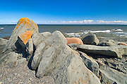 Rocky shoreline along the St. Lawrence River <br /> Matane<br /> Quebec<br /> Canada