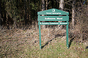 Forest Enterprise sign at Forestry Commission woodland, Sudbourne wood, Suffolk, England