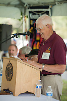 St Johnsbury Chapter President Dexter Willson greets the crowd gathered for the 70th Anniversary celebration of the Kiwanis Pool in St. Johnsbury Vermont.  Karen Bobotas / for Kiwanis International