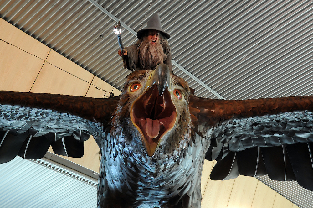 Two giant eagles hover over passengers at Wellington Airport as a preview to the release of Sir Peter Jackson's second Hobbit movie, Wellington, New Zealand, Monday, December 02, 2013. Credit:SNPA / Ross Setford