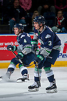 KELOWNA, CANADA - FEBRUARY 13: Anthony Bishop #3 of the Seattle Thunderbirds looks for the pass against the Kelowna Rockets on February 13, 2017 at Prospera Place in Kelowna, British Columbia, Canada.  (Photo by Marissa Baecker/Shoot the Breeze)  *** Local Caption ***