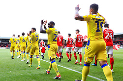 Bristol Rovers players applaud the travelling fans as the teams walk out - Mandatory by-line: Matt McNulty/JMP - 27/04/2019 - FOOTBALL - Highbury Stadium - Fleetwood, England - Fleetwood Town v Bristol Rovers - Sky Bet League One