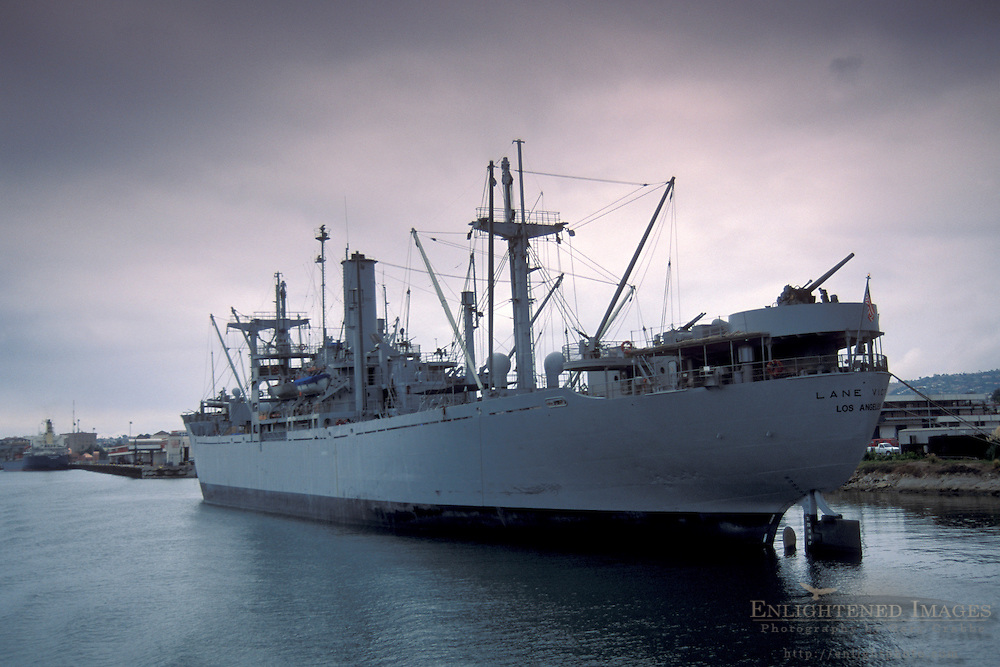 Naval Navy military transport ship berthed in channel dock at the Port of Los Angeles, California