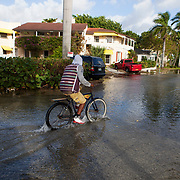 "Full moon coastal flooding along Marine Way on the Intracoastal Waterway in Delray Beach. ""This is the reality of sea level rise,"" said Delray Beach Sustainability Officer John Morgan. ""Where once this happened two times a year, now it happens once a month and it may happen for a couple days every month.""<br /> Photography by Jose More"