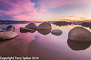 """Speedboat Beach Sunset 3"" - The sun sets over Lake Tahoe at Speedboat Beach, California"