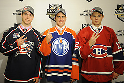 Nail Yakupov (middle) of the Sarnia Sting, Ryan Murray (left) of the Everett Silvertips and Alex Galchenyuk of the Sarnia Sting were the top three picks in the 2012 NHL Entry Draft in Pittsburgh, PA on Friday June 22. Photo by Aaron Bell/CHL Images