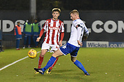 Stoke City U23's Midfielder, Daniel Jarvis (44) and Bury Defender , Alex Whitmore (20) during the EFL Trophy match between Bury and U23 Stoke City at the JD Stadium, Bury, England on 8 November 2017. Photo by Mark Pollitt.