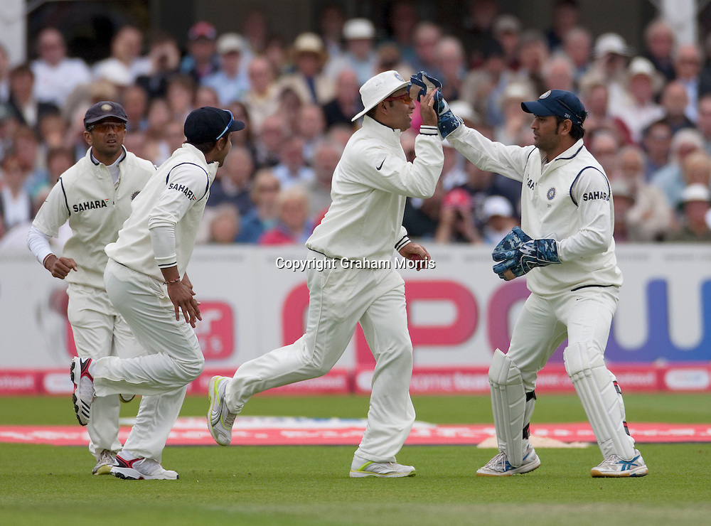 VVS Laxman celebrates catching Jonathan Trott during the second npower Test Match between England and India at Trent Bridge, Nottingham.  Photo: Graham Morris (Tel: +44(0)20 8969 4192 Email: sales@cricketpix.com) 29/07/11