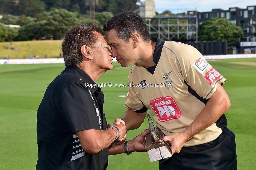 Ross Taylor (R captain of the North Island team is presented with the Island of Origin Mere after after their wini during the North Island vs South Island cricket match at the Basin Reserve in Wellington on Sunday the 28th of February 2016. Copyright Photo by Marty Melville / www.Photosport.nz