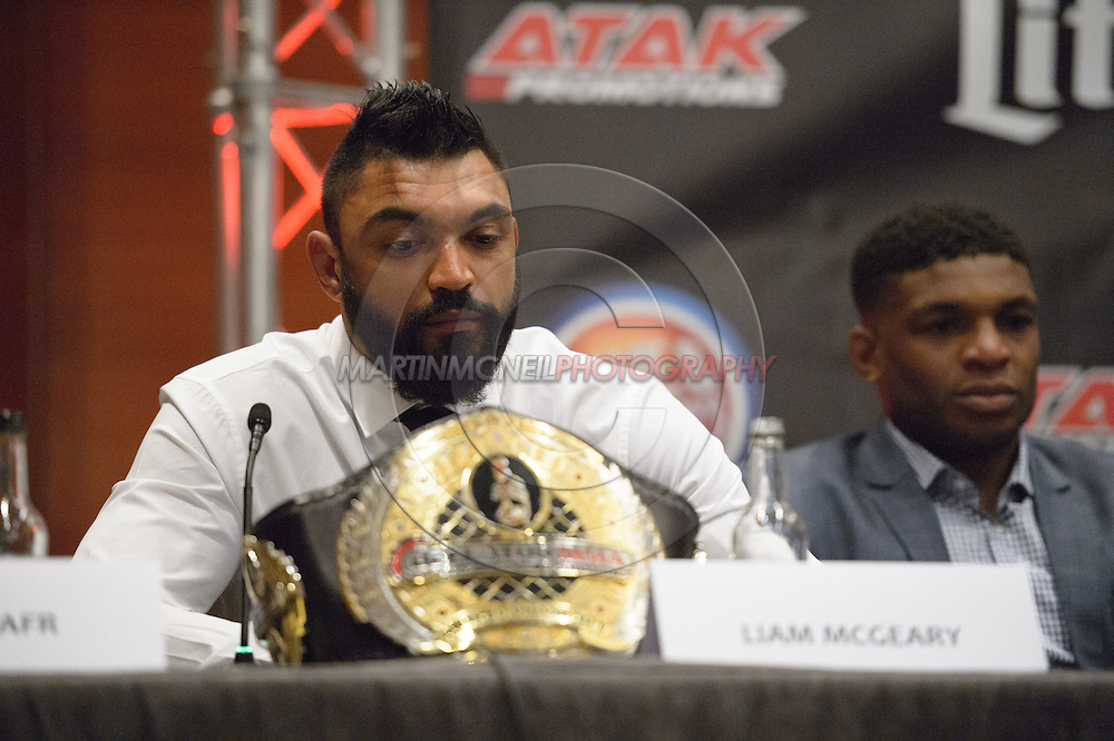 """LONDON, ENGLAND, APRIL 18, 2016: Liam McGeary is pictured during the event announcement press conference for """"Bellator 158: Slice vs. Thompson"""" inside the Four Seasons Hotel in Park Lane, London (© Martin McNeil)"""
