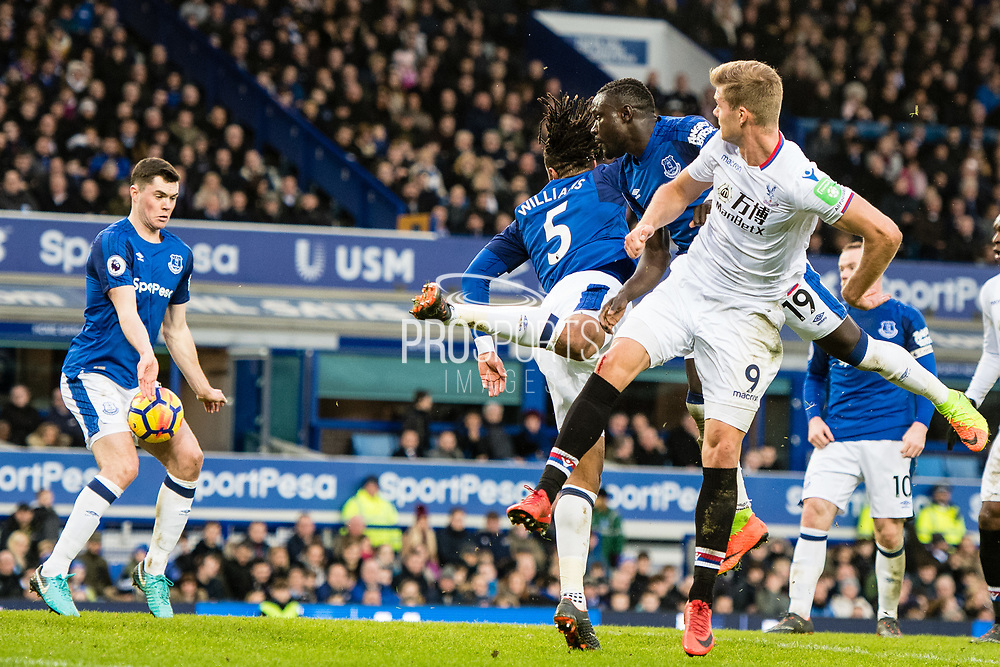 Crystal Palace (9) Aleksander Sorloth, Everton (19) Niasse, Everton (5) Ashley Williams during the Premier League match between Everton and Crystal Palace at Goodison Park, Liverpool, England on 10 February 2018. Picture by Sebastian Frej.