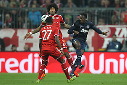 09.04.2014, Allianz Arena, Muenchen, GER, UEFA CL, FC Bayern Muenchen vs Manchester United, Viertelfinale, Rueckspiel, im Bild l-r: im Zweikampf, Aktion, mit David Alaba #27 (FC Bayern Muenchen), Dante #4 (FC Bayern Muenchen) und Danny Welbeck #19 (Manchester United) // during the UEFA Champions League Round of 8, 2nd Leg match between FC Bayern Muenchen and Manchester United at the Allianz Arena in Muenchen, Germany on 2014/04/09. EXPA Pictures © 2014, PhotoCredit: EXPA/ Eibner-Pressefoto/ Kolbert<br /> <br /> *****ATTENTION - OUT of GER*****