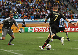 03.07.2010, CAPE TOWN, SOUTH AFRICA, Bastian Schweinsteiger of Germany attempts to lay the ball back as Goalkeeper Diego Pozo of Argentina looks on  during the Quarter Final, Match 59 of the 2010 FIFA World Cup, Argentina vs Germany held at the Cape Town Stadium EXPA Pictures © 2010, PhotoCredit: EXPA/ nph/  Kokenge