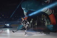 KELOWNA, CANADA - SEPTEMBER 25: Kole Lind #16 of Kelowna Rockets enters the ice during the season home opener against the Kamloops Blazers on September 25, 2015 at Prospera Place in Kelowna, British Columbia, Canada.  (Photo by Marissa Baecker/Shoot the Breeze)  *** Local Caption *** Kole Lind;