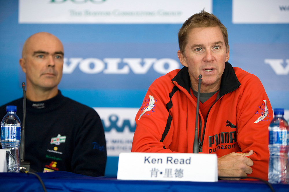 13FEB09. The Skippers' Press Conference for Leg 5 of the Volvo Ocean Race 2008-2009 which starts tomorrow 14th Feb 09 from Qingdao to Rio. This will be the longest ever leg of a Volvo Ocean Race / Whitbread Round the World Race in history, taking in 12,300 miles of offshore ocean racing.