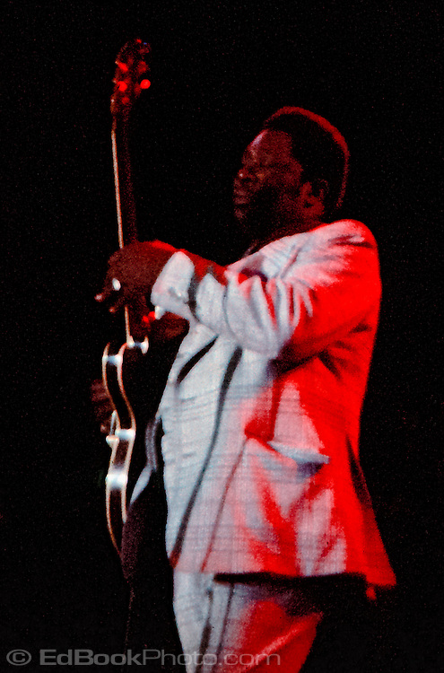 B B King plays his guitar Lucille in concert in Seattle in 1974