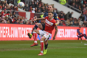Leeds United defender Luke Ayling wins the ball during the EFL Sky Bet Championship match between Bristol City and Leeds United at Ashton Gate, Bristol, England on 9 March 2019.