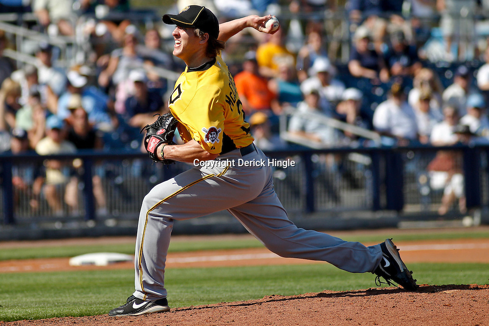 February 26, 2011; Port Charlotte, FL, USA; Pittsburgh Pirates relief pitcher Daniel McCutchen (34) during a spring training exhibition game against the Tampa Bay Rays at Charlotte Sports Park.  Mandatory Credit: Derick E. Hingle