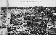 World War I 1914-1918: Aftermath of the First Battle of the Marne, near Paris, France, 5-12 September 1914 -  general view of the town of Sermaize-les-Bains after the bombardment. The battle was a Allied strategic  victory.