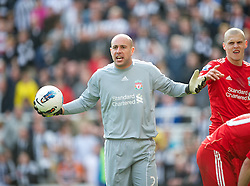 NEWCASTLE-UPON-TYNE, ENGLAND - Sunday, April 1, 2012: Liverpool's goalkeeper Jose Reina appeals after being sent off against Newcastle United during the Premiership match at St James' Park. (Pic by David Rawcliffe/Propaganda)
