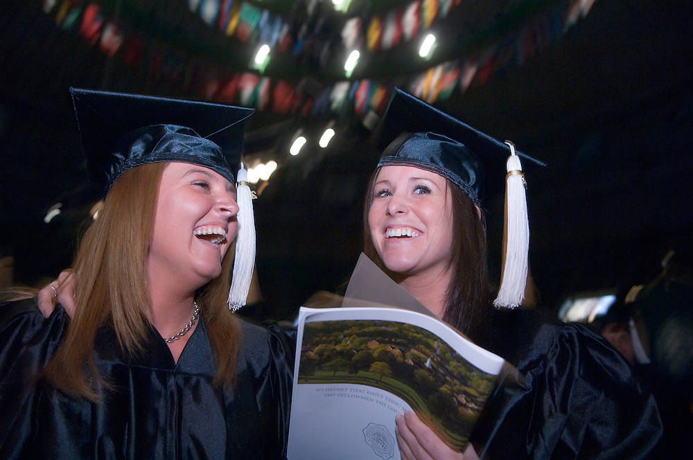 18276Undergraduate Commencement 2007..Carrie Longmore & Sarah Schuler(dark hair)