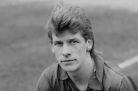 Ricky Simpson, footballer, Ards FC, N Ireland, March 1986, 19860302RS<br /> <br /> Copyright Image from Victor Patterson, 54 Dorchester Park, <br /> Belfast, UK, BT9 6RJ<br /> <br /> t1: +44 28 9066 1296 (from Rep of Ireland 048 9066 1296)<br /> t2: +44 28 9002 2446 (from Rep of Ireland 048 9002 2446)<br /> m: +44 7802 353836<br /> <br /> e1: victorpatterson@me.com<br /> e2: victorpatterson@gmail.com<br /> <br /> www.victorpatterson.com<br /> <br /> Please see my Terms and Conditions of Use at VICTORPATTERSON.COM. It is IMPORTANT that you familiarise yourself with them.<br /> <br /> Images used on the Internet must be visibly watermarked i.e. ©VICTORPATTERSON.COM within the body of the image and copyright metadata must not be deleted. Images used on the Internet have a size restriction of 4kbs and are chargeable at the then current NUJ rates.<br /> <br /> This image is only available for the use of the download recipient i.e. television station, newspaper, magazine, book publisher, etc, and must not be passed on to any third party. It is also downloaded on condition that each and every usage is notified within 7 days to victorpatterson@me.com<br /> <br /> The right of Victor Patterson to be identified as the author is asserted in accordance with The Copyright Designs And Patents Act (1988).