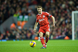 LIVERPOOL, ENGLAND - Monday, December 1, 2008: Liverpool's captain Steven Gerrard MBE in action against West Ham United during the Premiership match at Anfield. (Photo by David Rawcliffe/Propaganda)