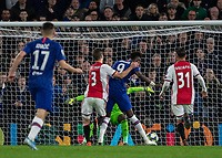 Football - 2019 / 2020 UEFA Champions League - Group H: Chelsea vs. Ajax<br /> <br /> Tammy Abraham (Chelsea FC) is impeded by Joel Veltman (Ajax FC) as he takes his shot at Stamford Bridge <br /> <br /> COLORSPORT/DANIEL BEARHAM