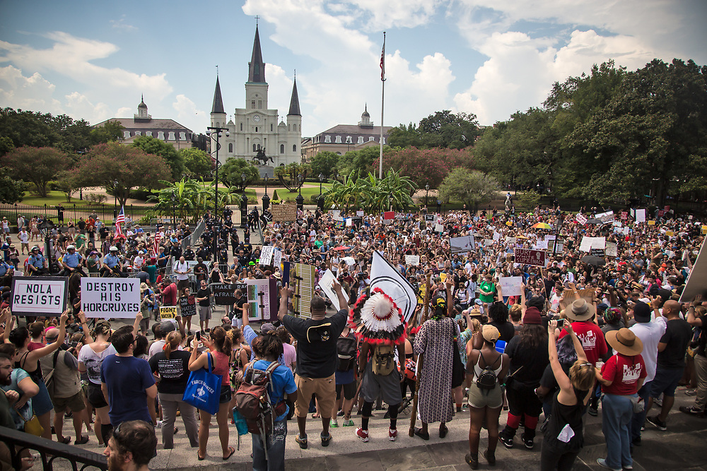 "New Orleans, Aug 19, 2017, ""Take Em Down NOLA"" held a rally and march in solidarity with Charlottesville<br /> to show opposition to the white-supremacist protests and attacks. The group called for the removal of all signs of white supremacy that remain in New Orleans. <br /> After the march they rallied in front of Jackson Square, which the police closed off before their arrival."