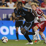 Kwadwo Poku, NYCFC, in action during the New York Red Bulls Vs NYCFC, MLS regular season match at Red Bull Arena, Harrison, New Jersey. USA. 10th May 2015. Photo Tim Clayton