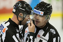 02.11.2012, Hala Tivoli, Ljubljana, SLO, EBEL, HDD Telemach Olimpija Ljubljana vs EC Red Bull Salzburg, 18. Runde, in picture Referees Gerald Podlesnik and Georg Veit during the Erste Bank Icehockey League 18th Round match between HDD Telemach Olimpija Ljubljana and EC Red Bull Salzburg at the Hala Tivoli, Ljubljana, Slovenia on 2012/11/02. (Photo By Matic Klansek Velej / Sportida)