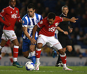 Bristol City midfielder Korey Smith and Brighton central midfielder Beram Kayal tussle for possession during the Sky Bet Championship match between Brighton and Hove Albion and Bristol City at the American Express Community Stadium, Brighton and Hove, England on 20 October 2015. Photo by Bennett Dean.