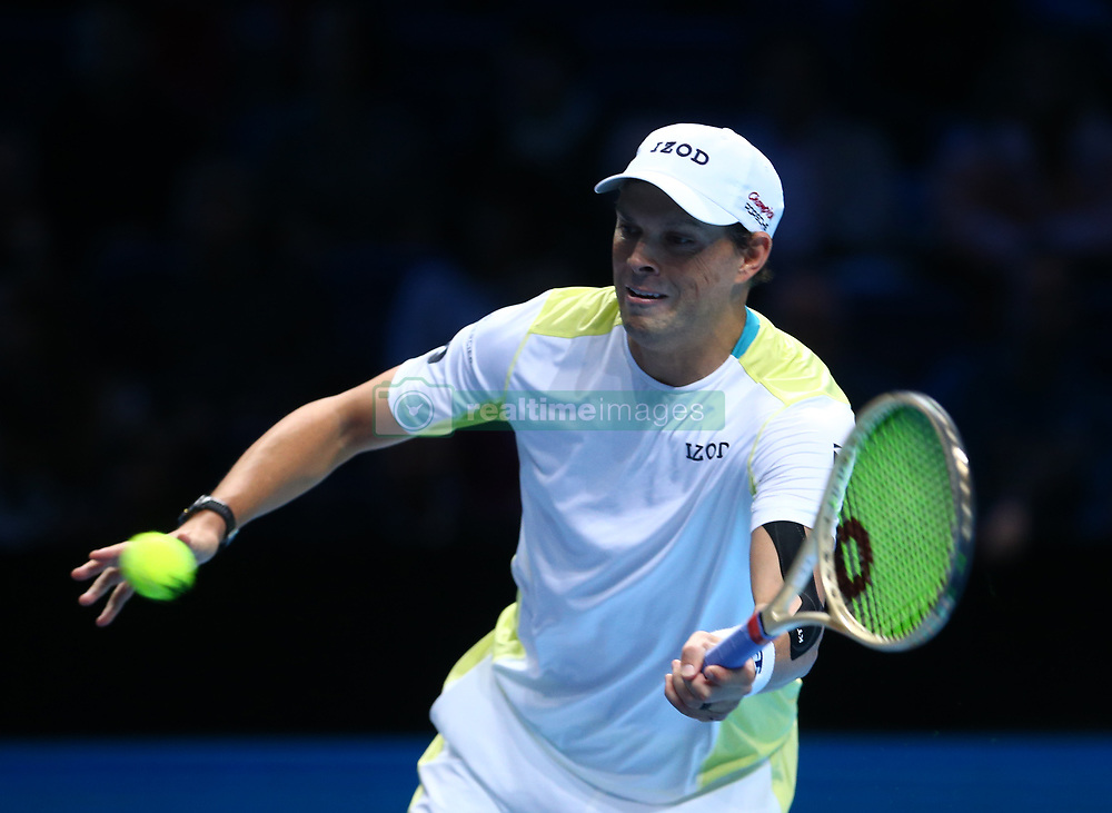 November 17, 2017 - London, United Kingdom - Bob Bryan (USA ) in action.during Day six of the Nitto ATP World Tour  Finals played at The O2 Arena, London on November 17 2017  (Credit Image: © Kieran Galvin/NurPhoto via ZUMA Press)