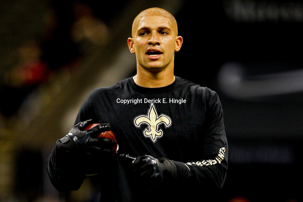 October 7, 2012; New Orleans, LA, USA; New Orleans Saints tight end Jimmy Graham (80) prior to kickoff of a game against the San Diego Chargers at the Mercedes-Benz Superdome. Mandatory Credit: Derick E. Hingle-US PRESSWIRE