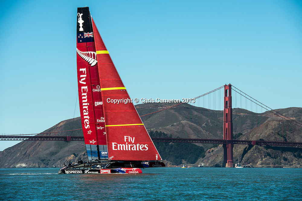 Emirates Team New Zealand practice with the code 0 before racing on day 13 of America's Cup 34. 23/9/2013