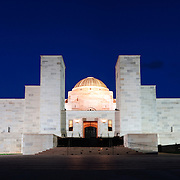 Panoramic shot of the Australian War Memorial in Canberra at night