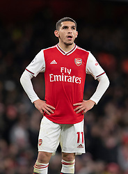 LONDON, ENGLAND - Thursday, December 5, 2019: Arsenal's Lucas Torreira looks dejected during the FA Premier League match between Arsenal FC and Brighton & Hove Albion FC at the Emirates Stadium. Arsenal lost 2-1. (Pic by Vegard Grott/Propaganda)