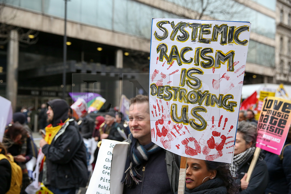 © Licensed to London News Pictures. 16/03/2019. London, UK. Thousands of people march against racism to mark UN World Against Racism global day of action. The horrific Islamophobic terrorist attack on a mosque in Christchurch, New Zealand on Friday 15 March 2019, that has left 49 dead is a reminder that the global anti-racist movement must take urgent action. Photo credit: Dinendra Haria/LNP