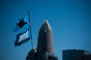 December 10, 2017: Minnesota vs Carolina. Charlotte skyline with Panthers flags.