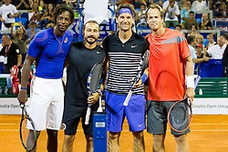 Geal Monfils (FRA), Bob Sinclar (DJ from FRA), Carlos Moya (ESP) and Magnus Norman (SWE) before exhibition match at 26. Konzum Croatia Open Umag 2015, on July 22, 2015, in Umag, Croatia. Photo by Urban Urbanc / Sportida