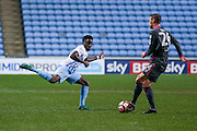 Coventry City midfielder Gael Bigirimana (5)  looks to block the pass during the The FA Cup match between Coventry City and Morecambe at the Ricoh Arena, Coventry, England on 15 November 2016. Photo by Simon Davies.